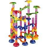 Deuba Murmelbahn Coaster Kugelbahn 36 Murmeln 12mm Mehrfarbige 111 Teile Bauvariationen DIY Kinder Spielzeug ab 3 Jahre -