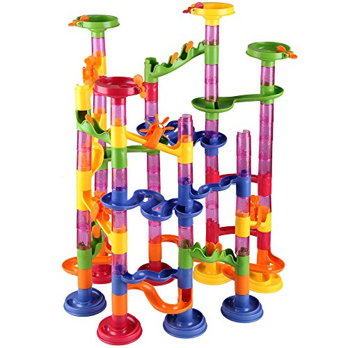 Deuba Murmelbahn Coaster Kugelbahn 36 Murmeln 12mm Mehrfarbige 111 Teile Bauvariationen DIY Kinder Spielzeug ab 3 Jahre