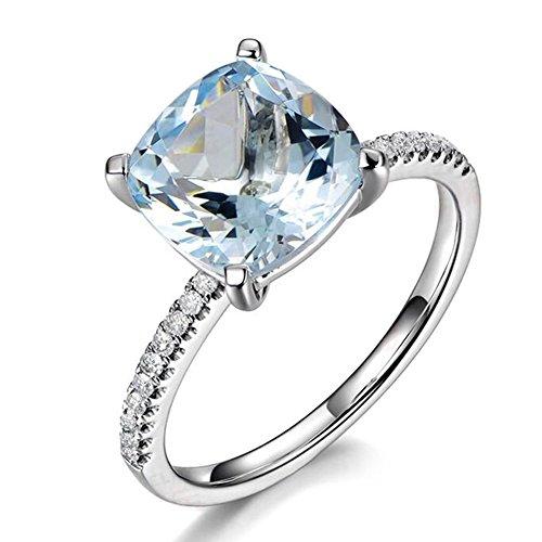 Genuino Naturale Mare blu Acquamarina Pietra preziosa 585/1000 (14 carats) 14K Oro bianco Nozze Fidanzamento Promettere anello per donne