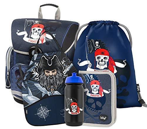 Schulranzen Jungen Set 5 Teilig - Schultasche ab 1. Klasse - Grundschule Ranzen mit Brustgurt - Ergonomischer Schulrucksack (Piraten)