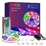 Tiras LED, JESLED 6m(1*6m) Luces LED RGB 5050 con Control Remoto de 44 Botones, 20 Colores 8 Modos de Brillo y 6 opciones DIY para la Dormitorio, TV, Decoración de Gabinetes, Fiesta, 24V