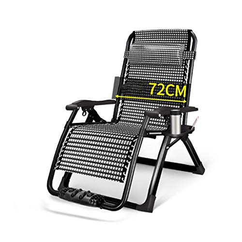 Foldable Adjustable Sun Lounge Recliner with Cup Holder,Extra Width 72 cm Folding Zero Gravity Chairs Beach Chairs Recliner for Beach Patio Garden Camping Outdoor (Color : Black)