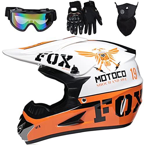 Aidasone Casco Moto Niño, YEDIA-01 ECE Certificación Casco de Motocross Infantil con Diseño Fox, Casco MTB Integral para Carreras ATV Quad Enduro Downhill con Gafas/Máscara/Guantes, Naranja Blanco,M