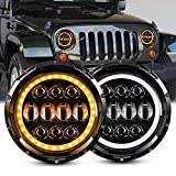 7 Inch 85W LED Headlights, EBESTauto Compatible for 7 Round LED Headlights LED Projector Headlamps with White DRL Hi/Low Beam Amber Turn Signal Light for 1997-2018 Jeep Wrangler JK TJ LJ