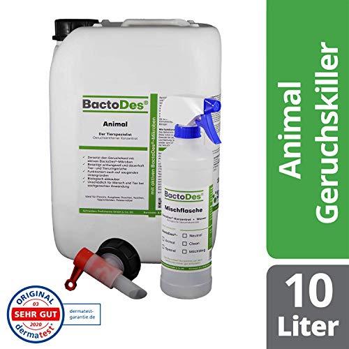BactoDes Animal Tier Geruchsentferner Konzentrat - 10 Liter - Geruchskiller bei Katzenurin, Hundeurin und Kleintiere