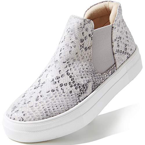 DailyShoes Womens Sneakers High Top Slip On Women Grey Flat Daily Shoes Platform Slip-On Sneakers Slip On Shoes Fashion Elastic Side Summer Comfort Flat Skate Walking Beige Python Pu, 7.5