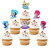 18pcs Shimmer And Shine Cupcake Toppers - Cartoon Party Glitter Shimmer Shine Genius Cupcake Supplies - Pink Girl's Birthday Party Decorations