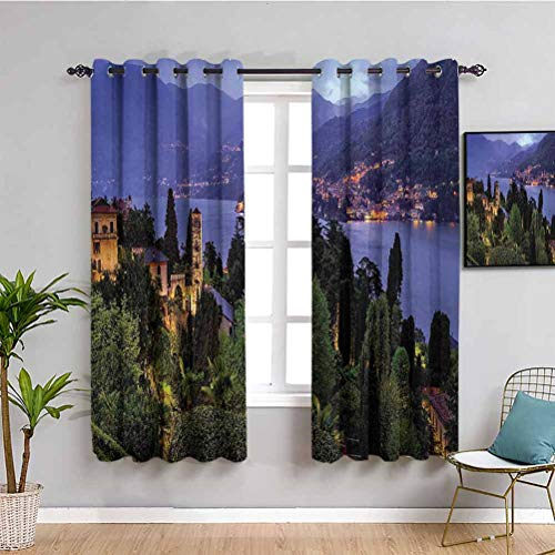 Italian Heat Insulation Curtain Lago Di Camo Lake Famous Coastal Village with Aerial View Picturesque Panorama Indoor Curtain W72 x L72 Inch Blue Green