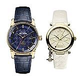 [ヴィヴィアンウエストウッド] 収納BOX付 ペアウォッチ メンズ レディース ダークブルー ホワイト レザー 革ベルト VV065BLBLVV006WHWH 腕時計 [並行輸入品]