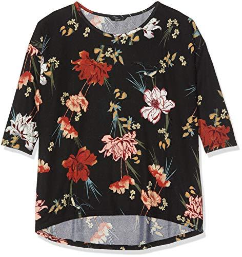 ONLY Damen 15144286 Bluse, Schwarz (Black AOP: Hannah Flower), (Herstellergröße: XX-Large)
