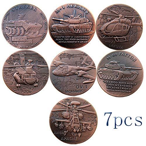 LSJTZ Krieg, versilberte, Gedenkmünzen, Sammlung, Flugzeug, Panzer, Kanonen, Waffen, Militär, Hobby, schöne, hohe Qualität, feine Kunstfertigkeit, 7pcs