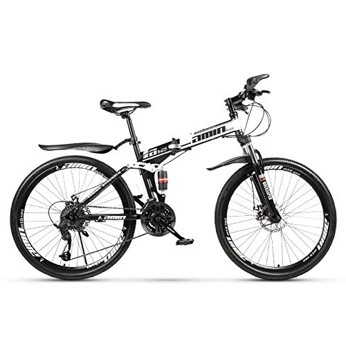 PsWzyze Micro Bike,Bicicleta de montaña Plegable de 24 Pulgadas, Bicicleta de montaña de Doble suspensión de Acero al Carbono de 21 velocidades-Blanco