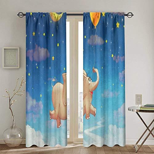 Schattige olifant gelukkig vliegen verduisteringspaneel gordijnen voor slaapkamer donker maken thermisch geïsoleerde Drapes 2 panelen 52