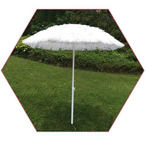 Ombrellone di Paglia Bianca Ombrellone Esterno da 1,8 M con Protezione Solare, Ombrello Tiki Hula Hawaii Regolabile, Ombrellone in Rafia