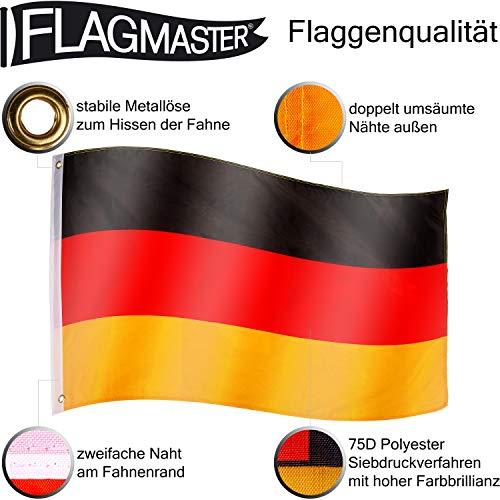 FLAGMASTER® Aluminium Fahnenmast 6,50 m, inkl. Deutschland Fahne + Bodenhülse + Zugseil, 3 Jahre Garantie - 6