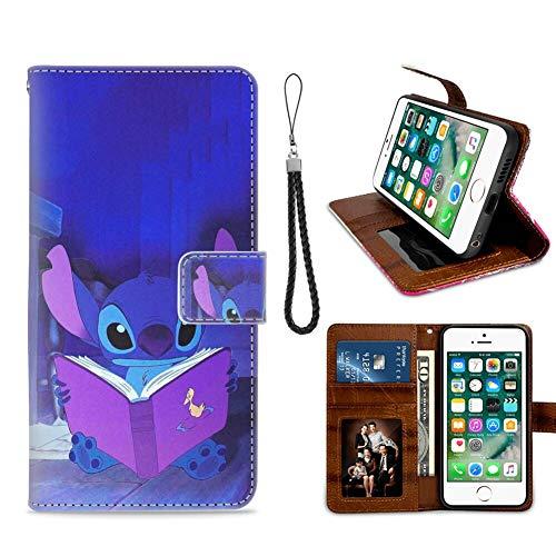 DISNEY COLLECTION Funda tipo cartera para iPhone 7/8/SE2 con diseño de puntadas de lectura con tarjeta de crédito, cierre magnético, función atril