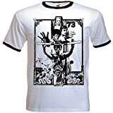 URBAN SHAOLIN Men's Enter The Dragon Inspired Fitted T Shirt, Xtra Xtra Large, White with Black Trim