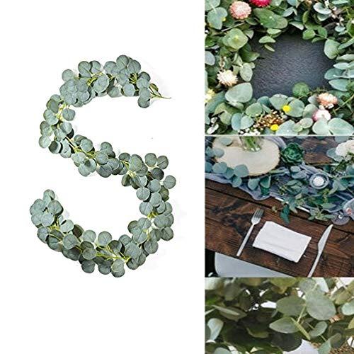 Queta 2M Künstlich Eukalyptus Pflanzengirlande Künstliche Pflanze Eukalyptus Blätter Girlande Deko Eukalyptus Kranz Kunstpflanze Hochzeit Party Home Küchen Garten Büro Wanddekoration