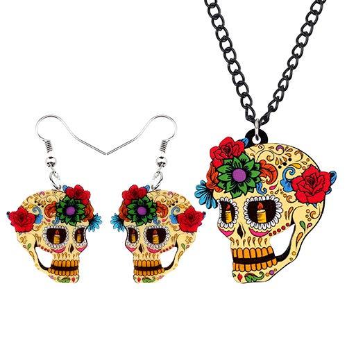AdronQ® Acryl Halloween Blume Retro Schädel Ohrringe Halskette Modeschmuck Sets Für Frauen Mädchen Kostüme Dekorationen