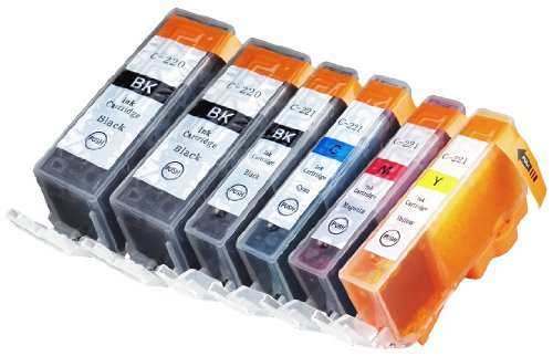 6 Pack Compatible Canon CLI 221 , CLI-221 , CLI221 , PGI 220 , PGI-220 , PGI220 2 Big Black, 1 Small Black, 1 Cyan, 1 Magenta, 1 Yellow for use with Canon PIXMA Ip3600, PIXMA Ip4600, PIXMA Ip4700, PIXMA MX860, PIXMA MX870. PIXMA Ip 3600, PIXMA Ip 4600, PIXMA Ip 4700, PIXMA MX 860, PIXMA MX 870.. Ink Cartridges for inkjet printers. Blake Printing Supply
