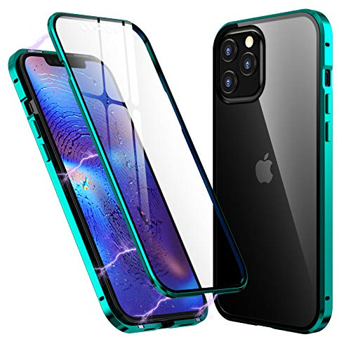 Clear Case for iPhone 12 Mini 5.4 inch, with Two Side Tempered Glass Screen Protector, 360° Full Body Magnetic Adsorption Metal Bumper Phone Cover for iPhone 12 Mini (5.4 inch, Green)