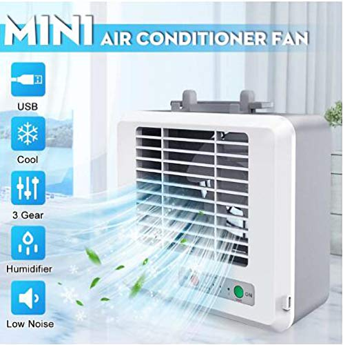 Aire Acondicionado Portátil Refrigeracion Mini Enfriador De Silencioso Climatizador Evaporativo Ventilador Purificador Humidificador 3 Velocidades Para Coche Casa Oficina Hogar Acampada Air Cooler