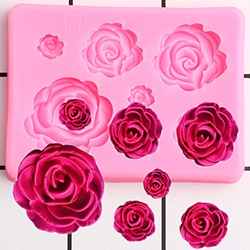 UNIYA Rose Flowers Silicone Mold Craft Chocolate Baking Fondant Molds Cupcake Topper Wedding Cake Decorating Tools Candy Clay Moulds