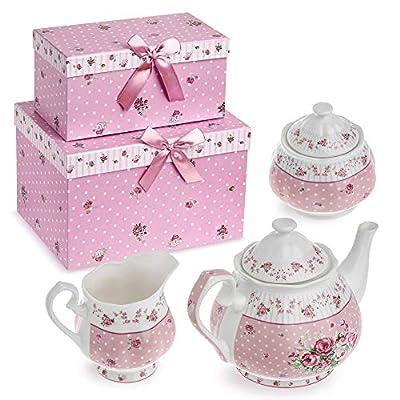 Service à thé en porcelaine, théière, sucrier et pot à crème vintage shabby chic motif floral avec coffret cadeau