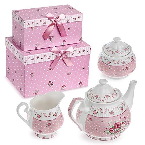 Set in porcellana con teiera, zuccheriera e lattiera in stile vintage floreale shabby chic, con confezione regalo Pink