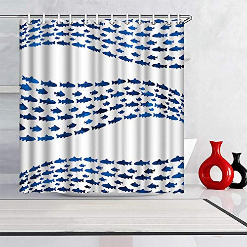 ArtBones Blue Fishs Shower Curtain Marine Ocean Fish School Bath Curtain with Hooks Waterproof Polyester Fabric 72x72inch Deep Blue