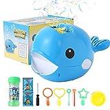 Herefun Máquina de Burbujas Portátil, Bubble Mania Bubble Whale Máquina Automática para Hacer Burbujas, Máquina de Burbujas de Ballenas, Juguetes Ideales para niños (Azul)