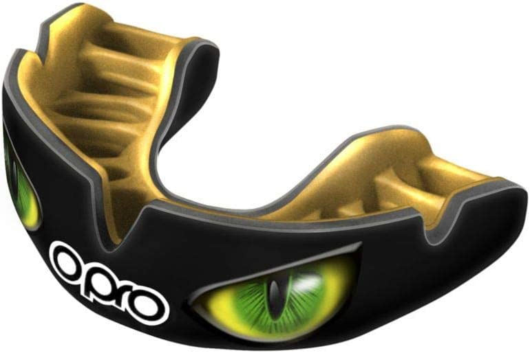 Opro Power Fit Aggression Eyes Mouth guard Black//Gold//Green