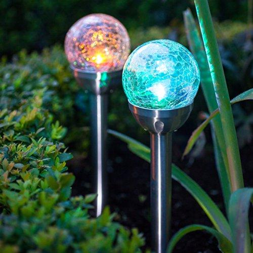 Lights4fun 2er Set LED Solar Glaskugel Farbwechsel inkl. Erdspieß