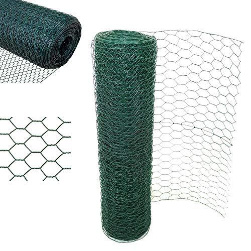 Efan Malla de alambre hexagonal con revestimiento de PVC verde para pollo, conejo, 50 mm, agujero de alambre, malla de alambre, malla para jardín de aves de corral, 60 cm x 25 m