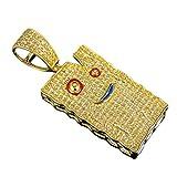 DTJEWELS 1.20 CT Diamond Ed Edd n Eddy Plank Charm Pendant 1.60' 14K Yellow Gold Finish