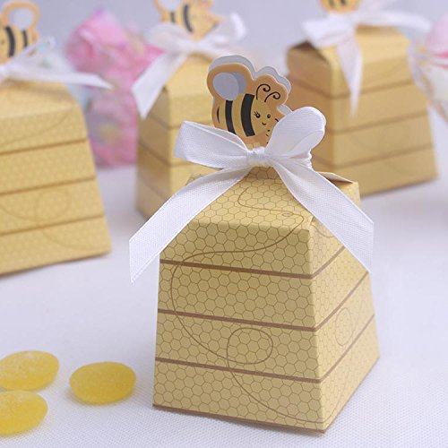Kubert® 12 Gift Boxes Bag with Ribbons Wedding Favors Candy Boxes, Bag Count Sweet as Can Bee Mom and Baby Beehive Favor Box