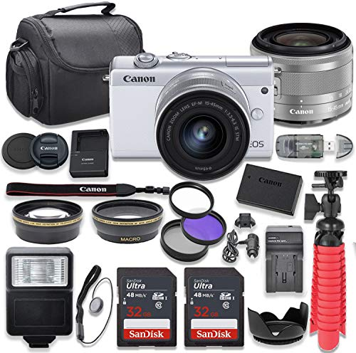 Canon EOS M200 Mirrorless Digital Camera (White) Bundle with Canon EF-M 15-45mm f/3.5-6.3 is STM Lens, 2pc Sandisk 32GB Cards and Accessory Kit