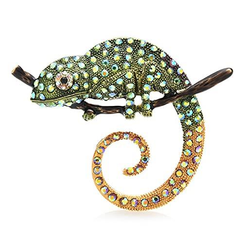 Broche de lagartija multicolor grande alfileres de moda animal broche joyería regalo Pins-verde