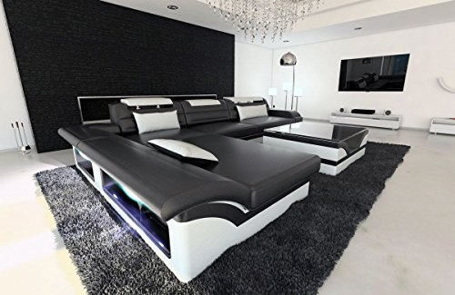 Sofa Dreams lederen bank Monza L-SHAPED zwart en wit