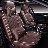HYLH Housses de siège Auto Universal Set, Coussins de siège en Cuir pour sièges Avant et arrière avec Coussin Gonflable Couvre Selle de Protection (Couleur: Marron)