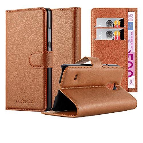 Cadorabo Hülle für Samsung Galaxy S5 Mini / S5 Mini DUOS in Schoko BRAUN - Handyhülle mit Magnetverschluss, Standfunktion & Kartenfach - Hülle Cover Schutzhülle Etui Tasche Book Klapp Style