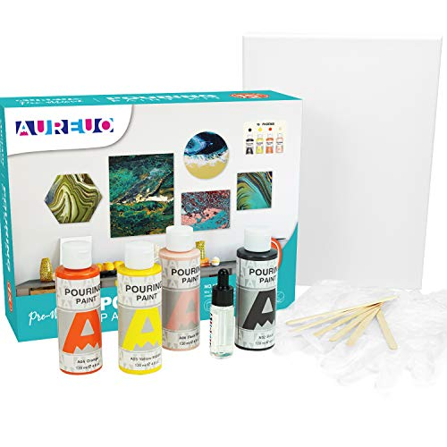 AUREUO Acrylic Pouring Paint Set 4 Colors 4 Oz. High Flow Pre-Mixed Acrylic Paint Bottles & 9x12 Inch Stretched Canvas & Silicone Oil, Gloves, Stirring Rod, Tablecloth Paint Pouring Kit-Phoenix