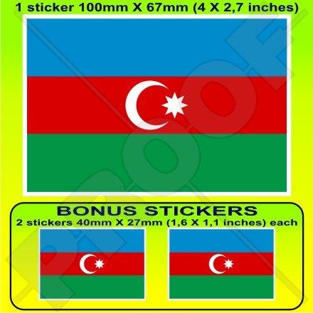Azerbaïdjan Drapeau Azerbaïdjanais 10,2 cm Bumper Sticker en vinyle (100 mm), en x1 + 2 Bonus
