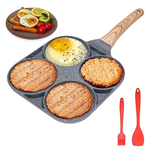 Bobikuke 4 padelle per Uova – Padella Antiaderente per Uova Fritte – Pentola Multifunzione per Colazione, Pancake, Uova in Camicia