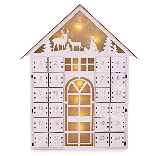 Adventskalender zum Befüllen Wintertime 24 Schubladen aus Holz Fächer mit LED Beleuchtung Weihnachten, Weihnachtskalender DIY von pajoma