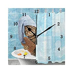 ZZKKO Cat Taking a Bath Wall Clock, Silent Non Ticking Battery Operated Easy to Read Decorative Wall Clock for Kitchen Bedroom Bathroom Living Room Classroom