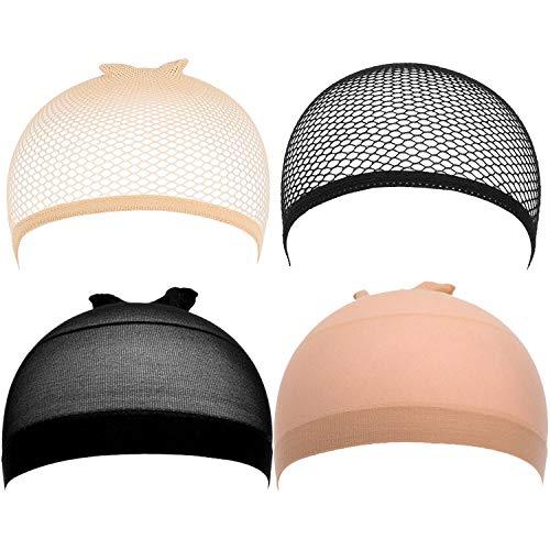 Lot de 4 bonnets de perruque et filets élastiques pour femmes et hommes - Beige et Noir