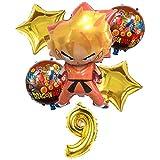 ZWYCEX Globos 6 de Dibujos Animados / Juego de Dragon Ball Goku de 32 Pulgadas de Aluminio Globos Feliz Cumpleaños Parte establezca la cantidad de Globos Decorados Juguetes Campus Party de los niños