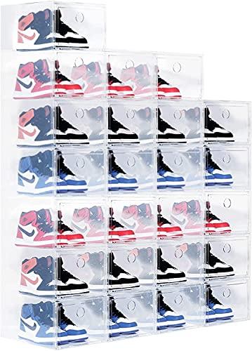 ZHJ Caja de almacenamiento de zapatos claros plegable BINS Papelera de zapatería Organizador Zapato Estante de zapato bajo cama Zapato de almacenamiento para zapatillas de deporte tacones altos Zapate
