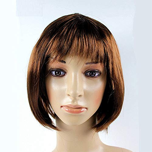 JKL African Female wig Short Hair wig Black Hair wig Small Volume Explosion Headgear European and American Hot wig Set (Color : Brown)